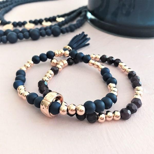 Double Layer Glass & Crystal Tassel Bracelet