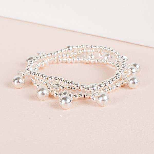 Three Strand Metal Ball Charms Bracelet