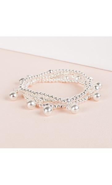 Three Strand Metal Ball Charms Bracelet