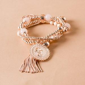Mixed Coin Glass & Metal Tassel Mix Bracelet