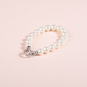 Diamante Clasp Glass Pearl Bracelet