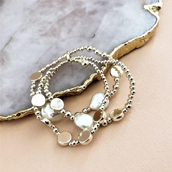 Three Strand Pearl Metal Bracelet