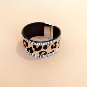 Animal Print Diamante Edged Cuff