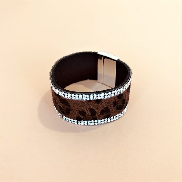 Animal Print Diamante Edged Cuff