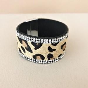 Diamante Trim Animal Hide Magnetic Cuff