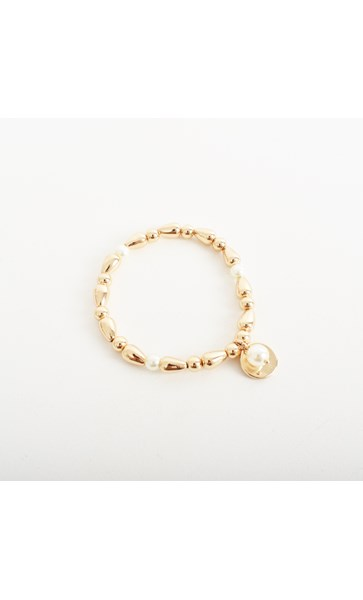 Disc & Pearl Ball Charm Bracelet