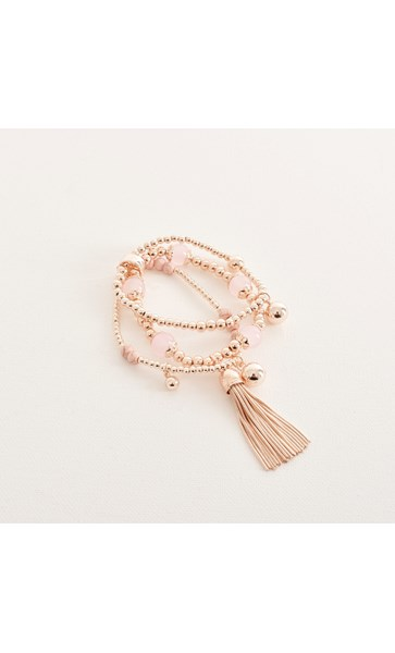 Trio Mix Bead Tassel Stretch Bracelet