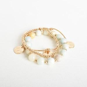 Two Strand Bead Metal Stretch Bracelet