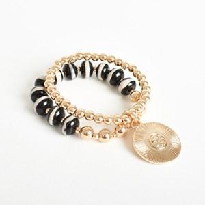 Two Strand Bead Ball Stretch Bracelet