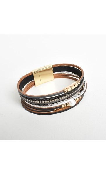 Fresh Water Pearl & Chain Multi Leather Cuff