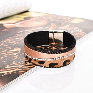 Hide & Diamante Angled Leather Cuff