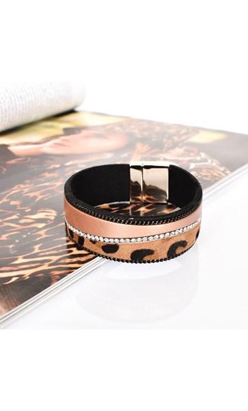 Hide & Diamante Angled Leather Cuff