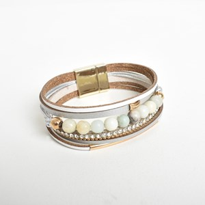 Stone & Diamante Leather Mix Wrap Cuff
