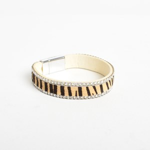 Narrow Hide & Diamante Edge Cuff