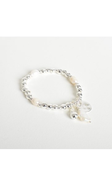 Pearl & Metal Bead Stretch Bracelet