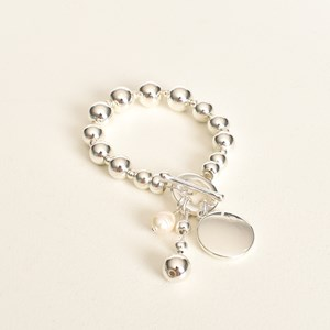 Ball Toggle Pearl Disc Bracelet