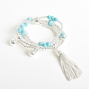 Stone Metal Stretch Tassel Bracelet