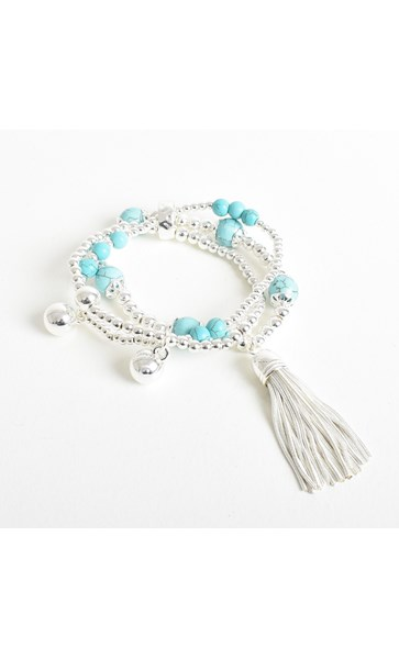 Stone Metal Stretch Tassel Bracelet