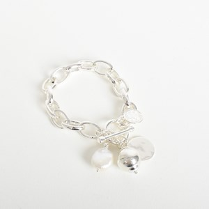 Pearl Disc Drop Chain Bracelet