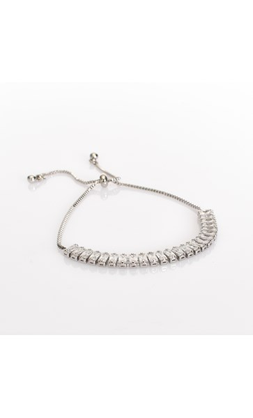 CZ Baguette Adjustable Bracelet