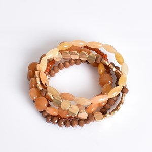 Natural Stone & Bead Multi Bracelet Set
