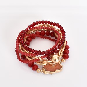Agate & Bead Multi Bracelet Set