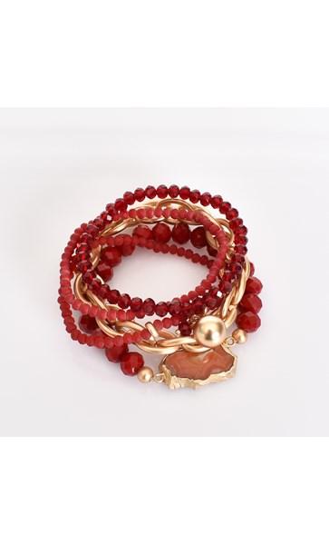 Agate & Bead Multi Bracelet Set