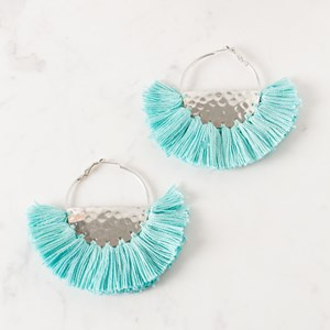 Fringed Fabric Edge Half Circle Earrings