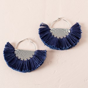 Fringed Fabric Edge Half Circle Earrings
