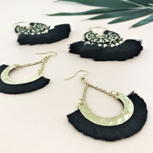 Small Half Circle Fringe Hook Earring