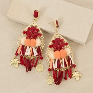Jewel and Pom Pom Statement Earrings