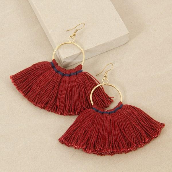Contrast Stitch Fringe Hoop Hook Earrings