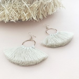 Contrast Stitch Fringe Hoop Hook Earrings