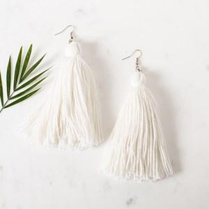 Natural Cotton Tassel Earrings