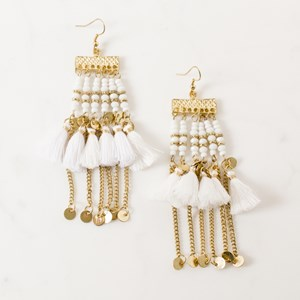Beaded Panels Disc & Tassel Earring