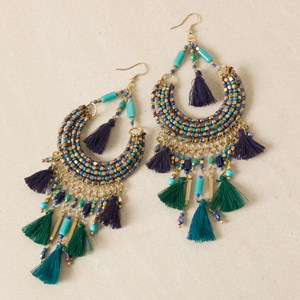 Curved Beaded Tassel Drops Hook Earring
