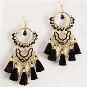 Diamante Leaf and Tassel Drop Earring