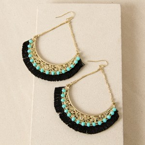 Filigree Chain Drop Jewelled Earring