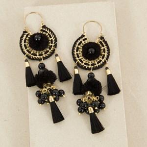 Tiered Pom Pom & Pearl Tassel Earring