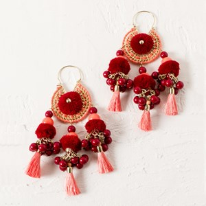 Pearl and Tassel Dream Catcher Earrings