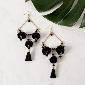Chain and Pom Pom Drop Earring