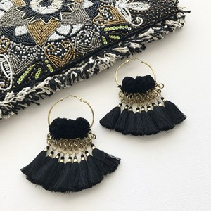 Tassel Pom Pom Hoop Earrings