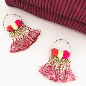 Tassel Pom Pom Hoop Earrings