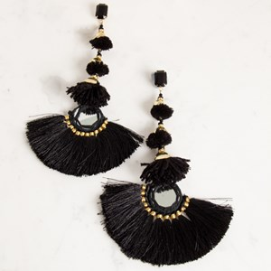 Extra Long Mirror Fringe Statement Earring