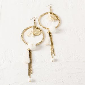 Coin Beaded Ring & Tassel Hook Earring