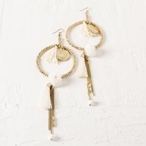 Coin Beaded Ring & Tassel Hook Earring