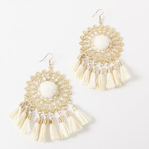 Pom Pom Centre Tassel Ends Hook Earring