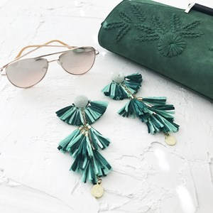 Fan Tassels Raffia Earrings