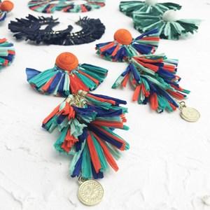 Fan Tassels Raffia Earrings