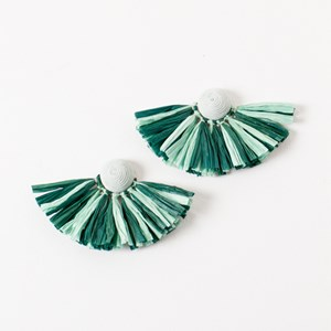 Fan Stud Raffia Earrings
